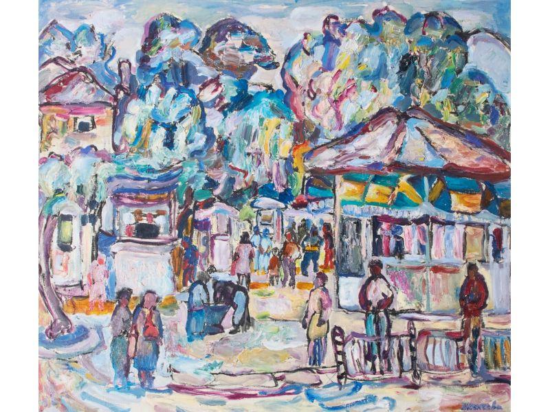 Пазара в Казанлък 1989-Пейзаж-83x73 cm - Дора Кънчева