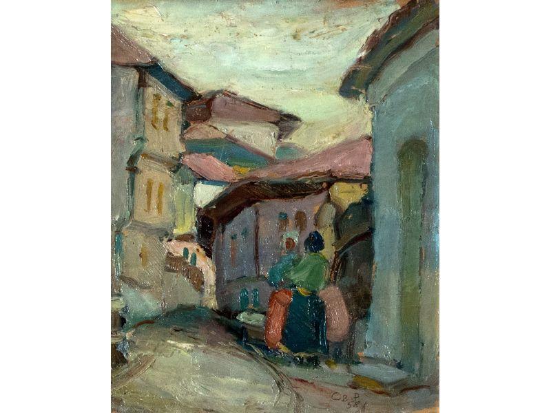 Къщи и жени-Пейзаж-29x36 cm - Светлин Русев